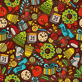 Cartoon cute hand drawn Xmass seamless pattern