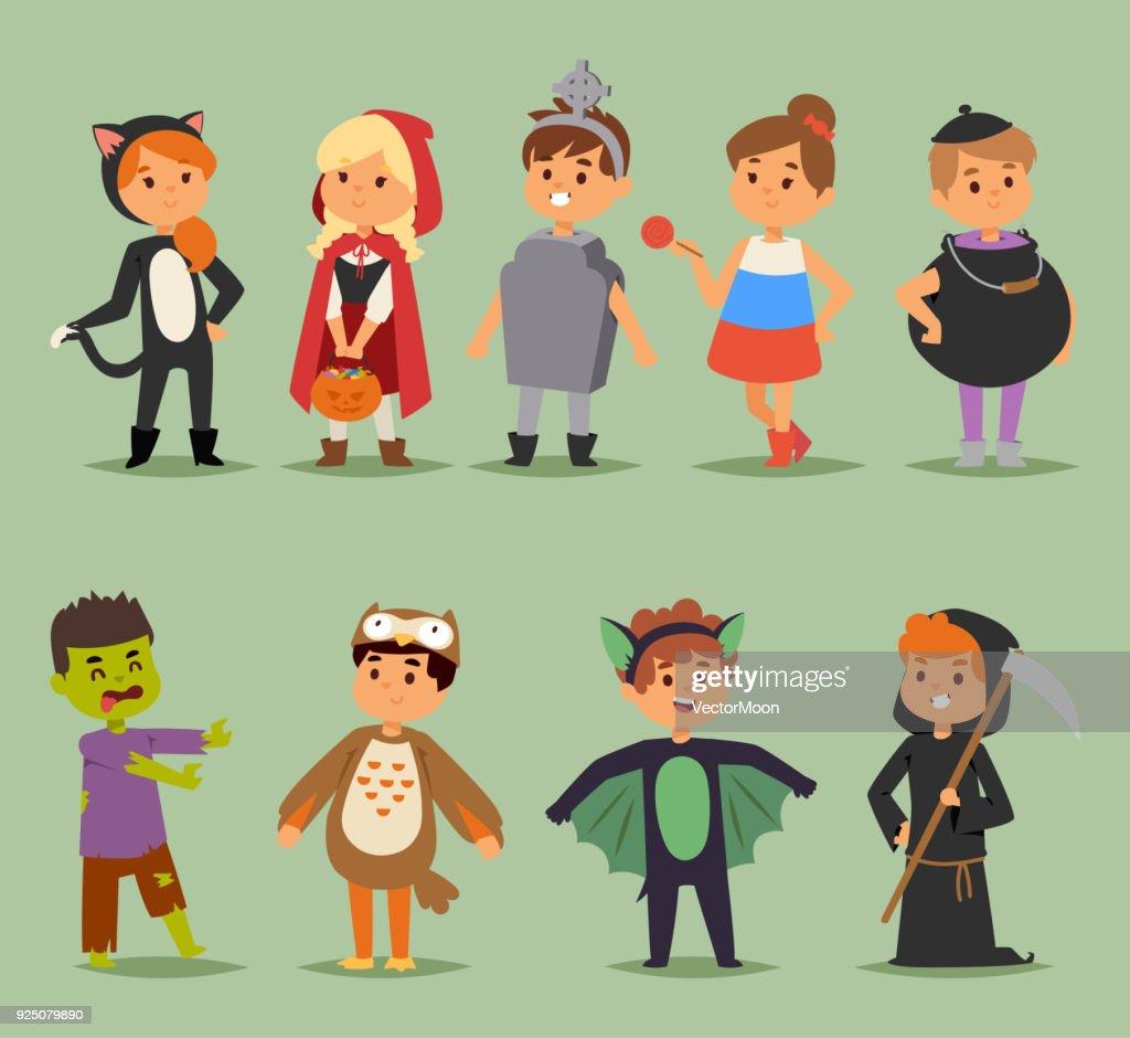 Cartoon cute kids wearing Halloween costumes vector characters. Little child people Halloween bat, candy, ghost, zombie kids costume. Childhood fun cartoon boys and girls costume