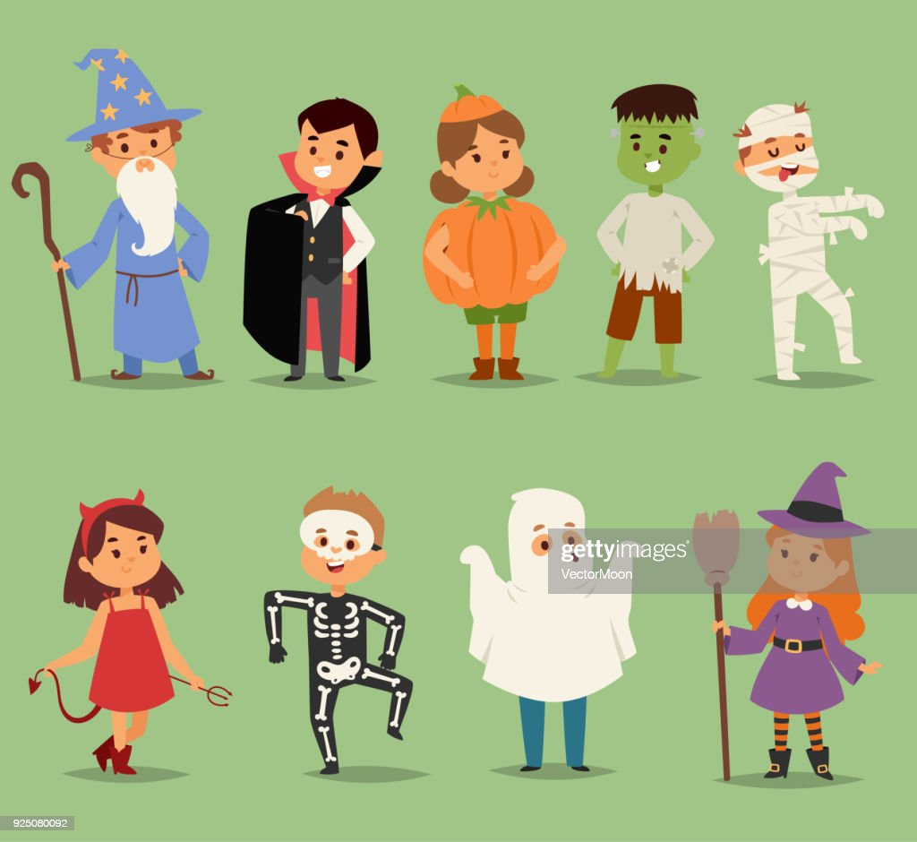 Cartoon cute kids wearing Halloween costumes vector characters. Little child people Halloween dracula, witch, ghost, zombie kids costume. Childhood fun cartoon boys and girls costume