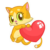 Cartoon cute kitty in love and holding a heart love.Vector illustration for St Valentines Day. Isolated