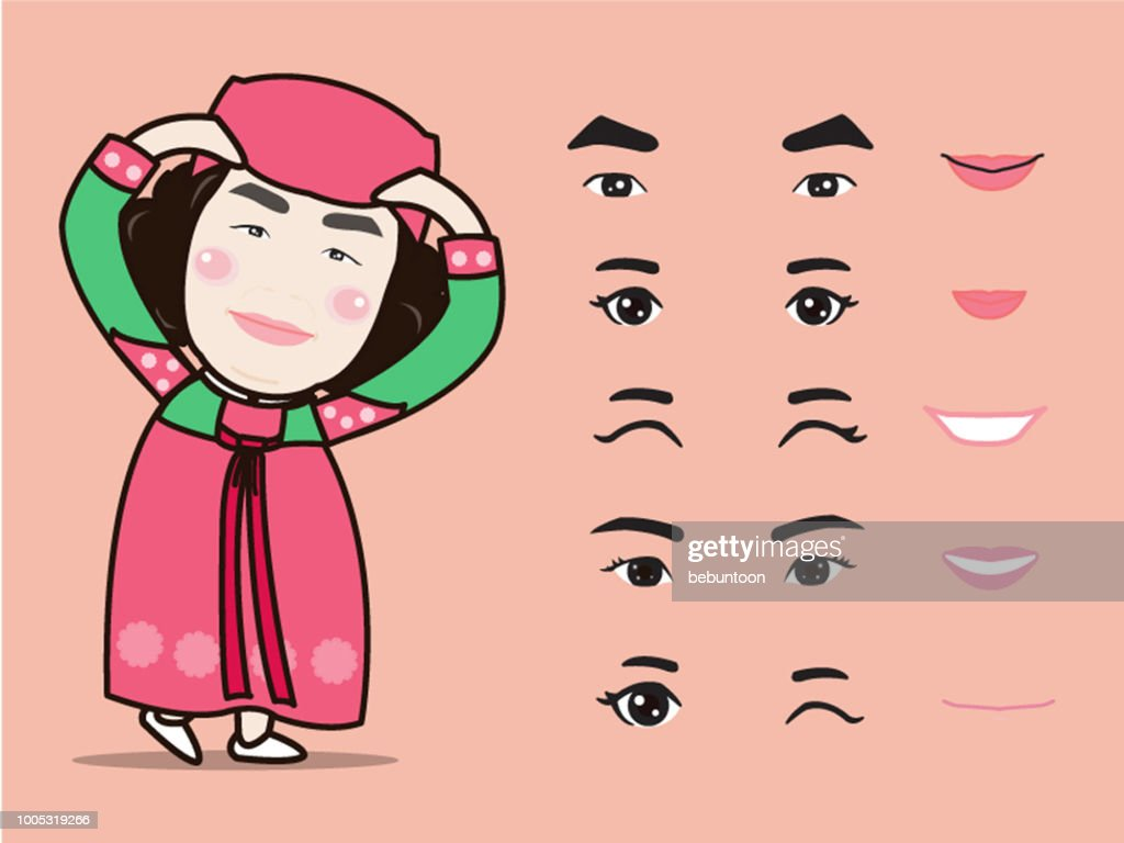 cartoon cute Korea traditional girl character pack facial emotions design elements isolated vector illustration