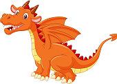 Cartoon cute orange dragon isolated on white background