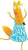 Cartoon cute orange fox in dress with text Love Dancing