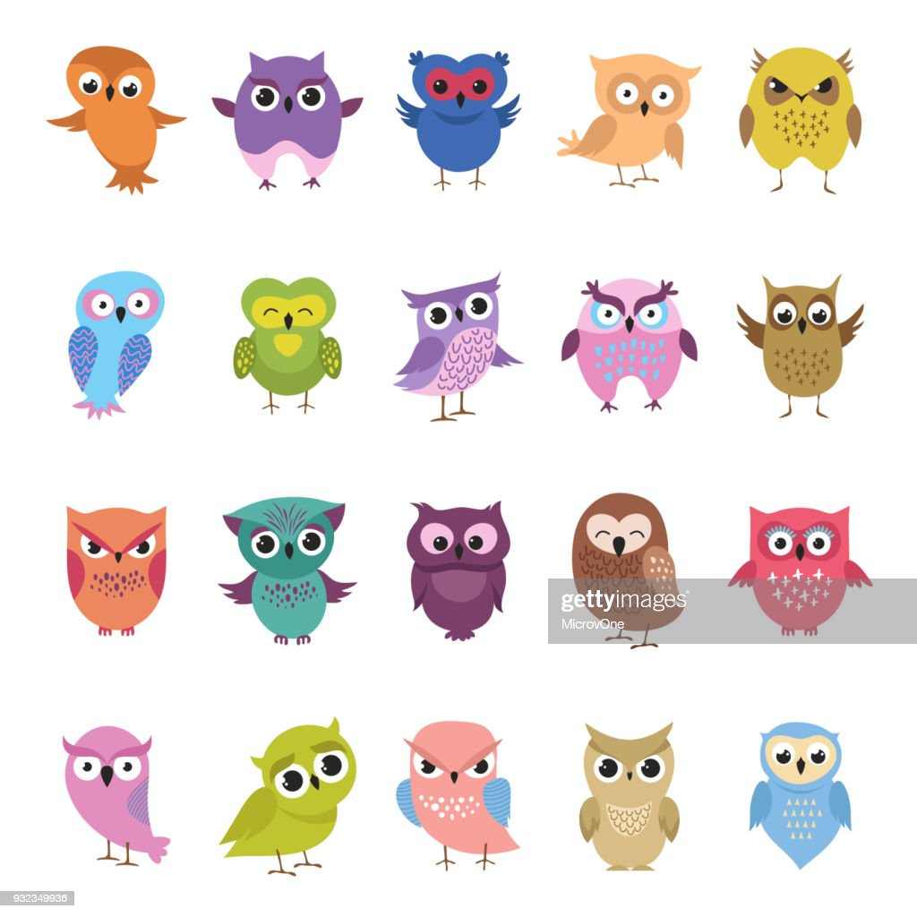 Cartoon cute owls set. Funny and angry birds collection