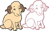 Cartoon cute sheep
