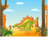 Cartoon cute stegosaurus posing with prehistoric background