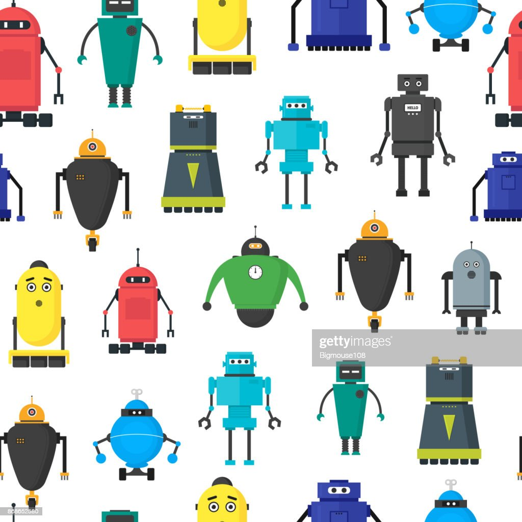 Cartoon Cute Toy Robots Background Pattern. Vector