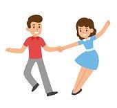 Cartoon dancing couple