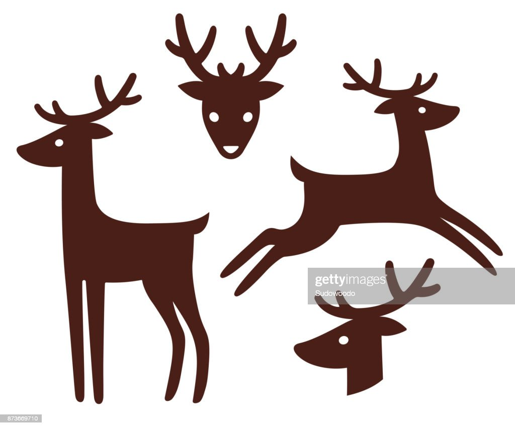 Cartoon deer silhouette set