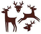 Cartoon deer silhouette set