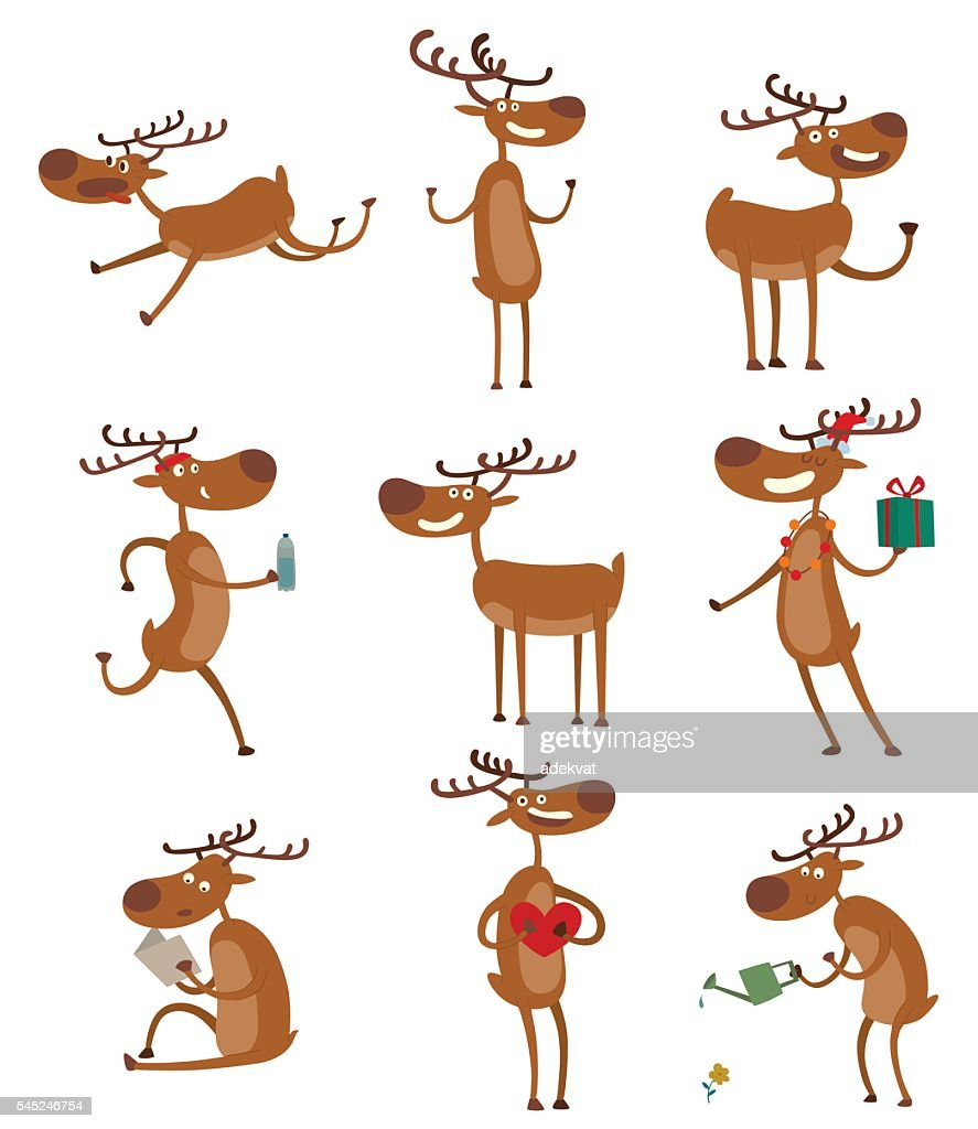 Cartoon deer vector set.