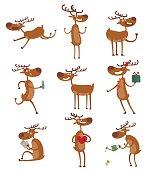 Cartoon deer vector set.