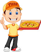 Cartoon deliver boy with pizza isolated on white background