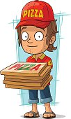 Cartoon delivery man with few pizza box
