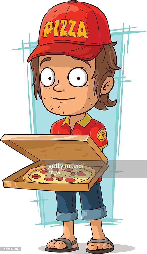 Cartoon delivery man with open pizza box