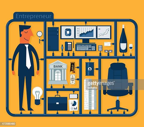 a cartoon depicting a male entrepreneur - model kit stock illustrations