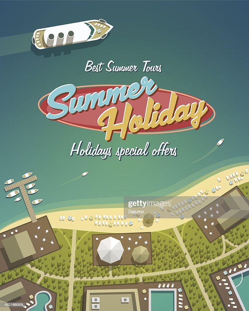 Cartoon depiction of a summer holiday island resort