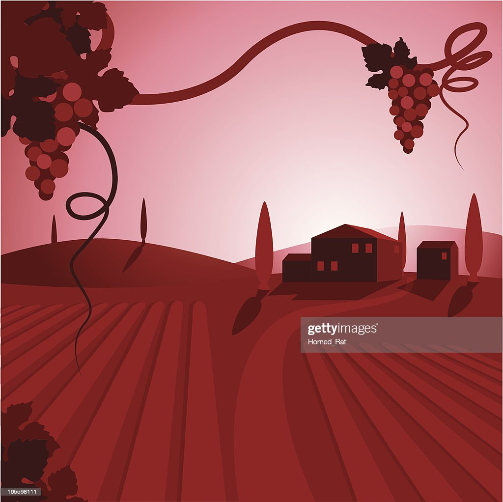 A cartoon depiction of a wine vineyard and houses