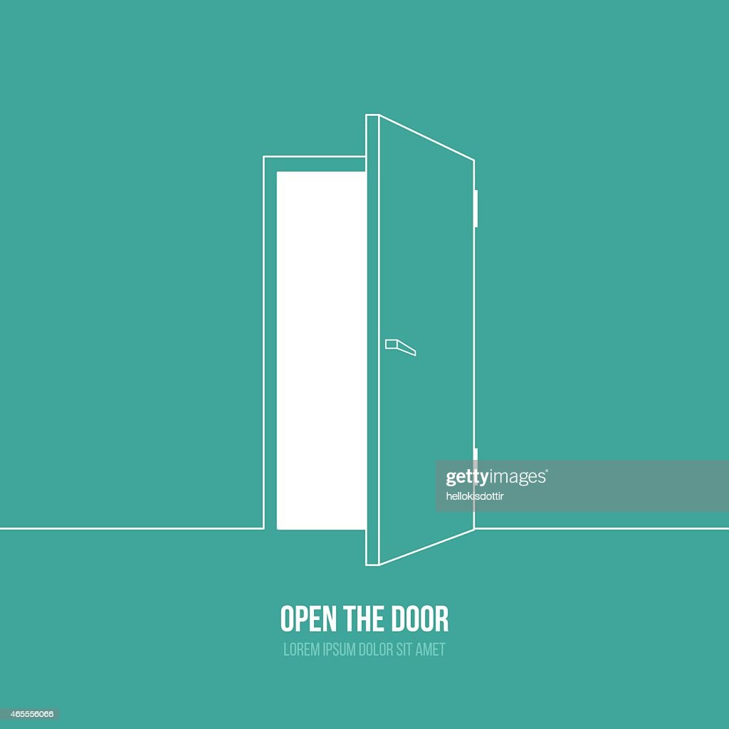 A cartoon depiction of an open door with a caption under it