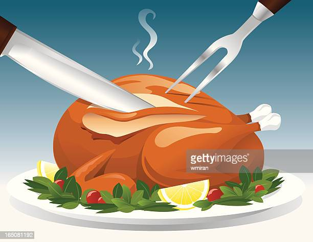 Cartoon depiction of carving a turkey