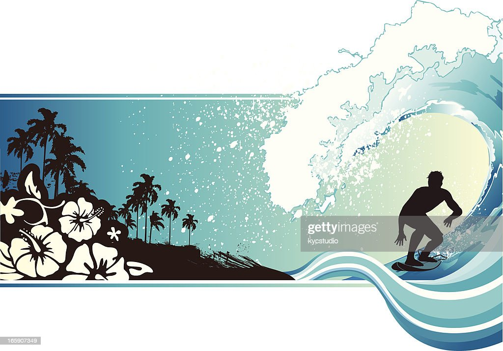 Cartoon depiction of man surfing wave and beach background : Vector Art