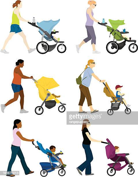 a cartoon depiction of multiple moms pushing stroller - three wheeled pushchair stock illustrations, clip art, cartoons, & icons