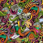 Cartoon design and art doodles seamless pattern
