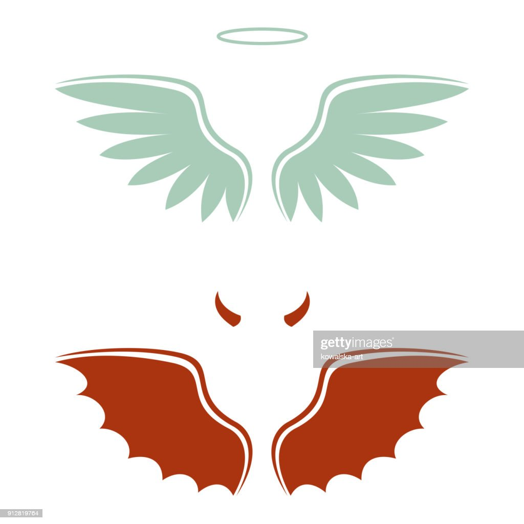 cartoon devil and angel, good and bad choice, wings, horns and halo
