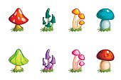 Cartoon different mushrooms set, colored collection