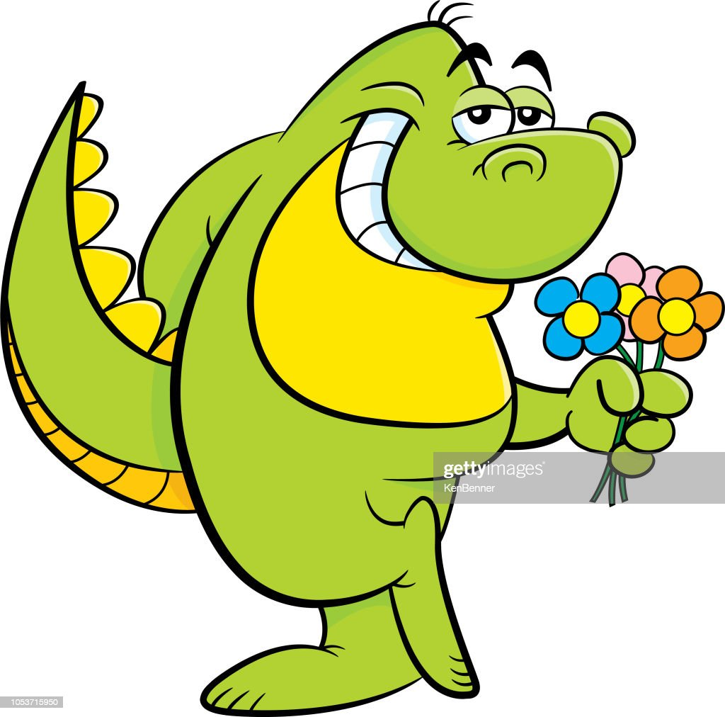 Cartoon dinosaur holding flowers.