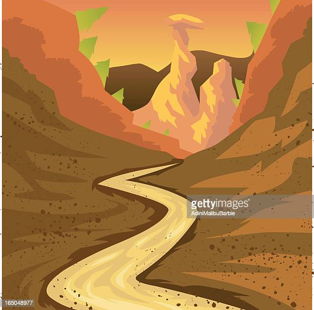 cartoon dirt road leading into canyon - rally car racing stock illustrations, clip art, cartoons, & icons