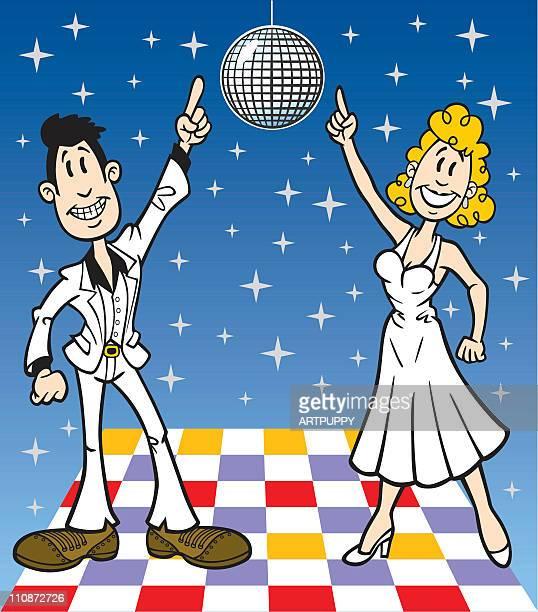 ilustraciones, imágenes clip art, dibujos animados e iconos de stock de de historieta discoteca personas - pareja bailando cuerpo entero