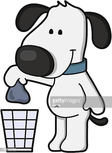 illustrazioni stock, clip art, cartoni animati e icone di tendenza di fumetto di cane/smaltire i rifiuti-pulizia - cacca