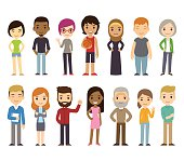 Cartoon diverse people