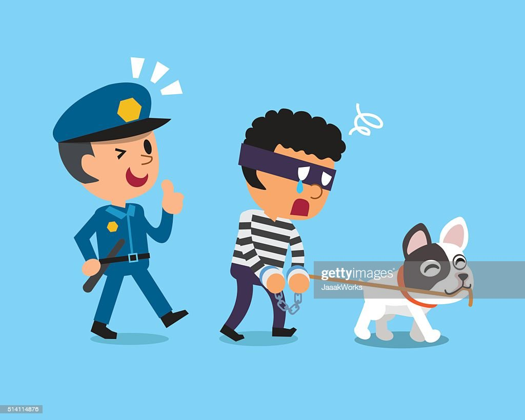 Cartoon dog and policeman catching thief
