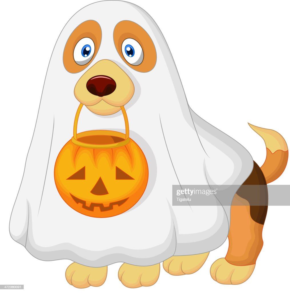 Cartoon Dog dressed up as a spooky ghost