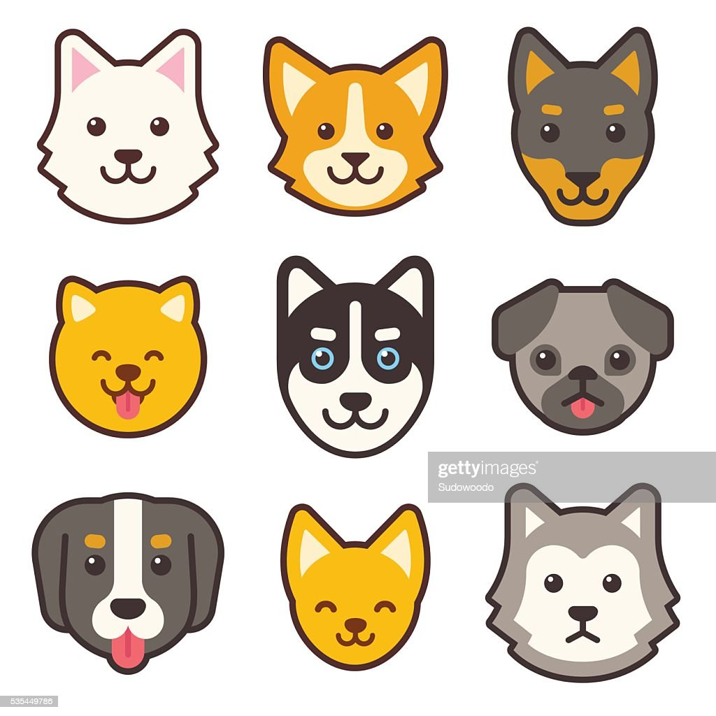 Cartoon dog faces set