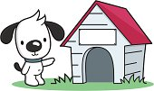 cartoon dog points to a pet house with blank sign