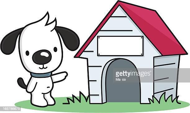 ilustraciones, imágenes clip art, dibujos animados e iconos de stock de perro de historieta puntos para una mascota casa con cartel en blanco - caseta de perro
