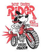 Cartoon dog riding a motorcycle vector T-Shirt design