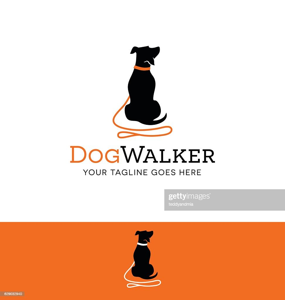 cartoon dog silhouette with red leash icon for creative use