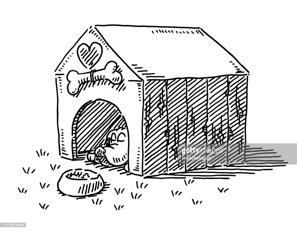 Cartoon Dog Stable Drawing : stock illustration