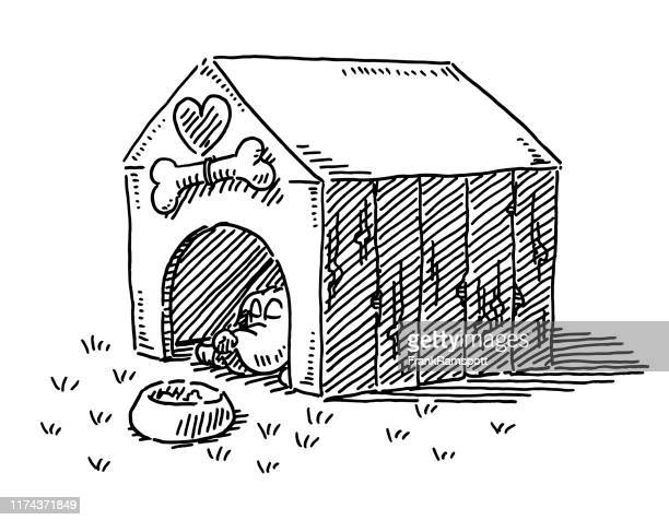 cartoon dog stable drawing - dog bowl stock illustrations, clip art, cartoons, & icons