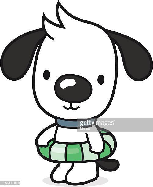 illustrations, cliparts, dessins animés et icônes de chien de dessin animé veut apprendre la piscine/plage holiday - bouée gonflable