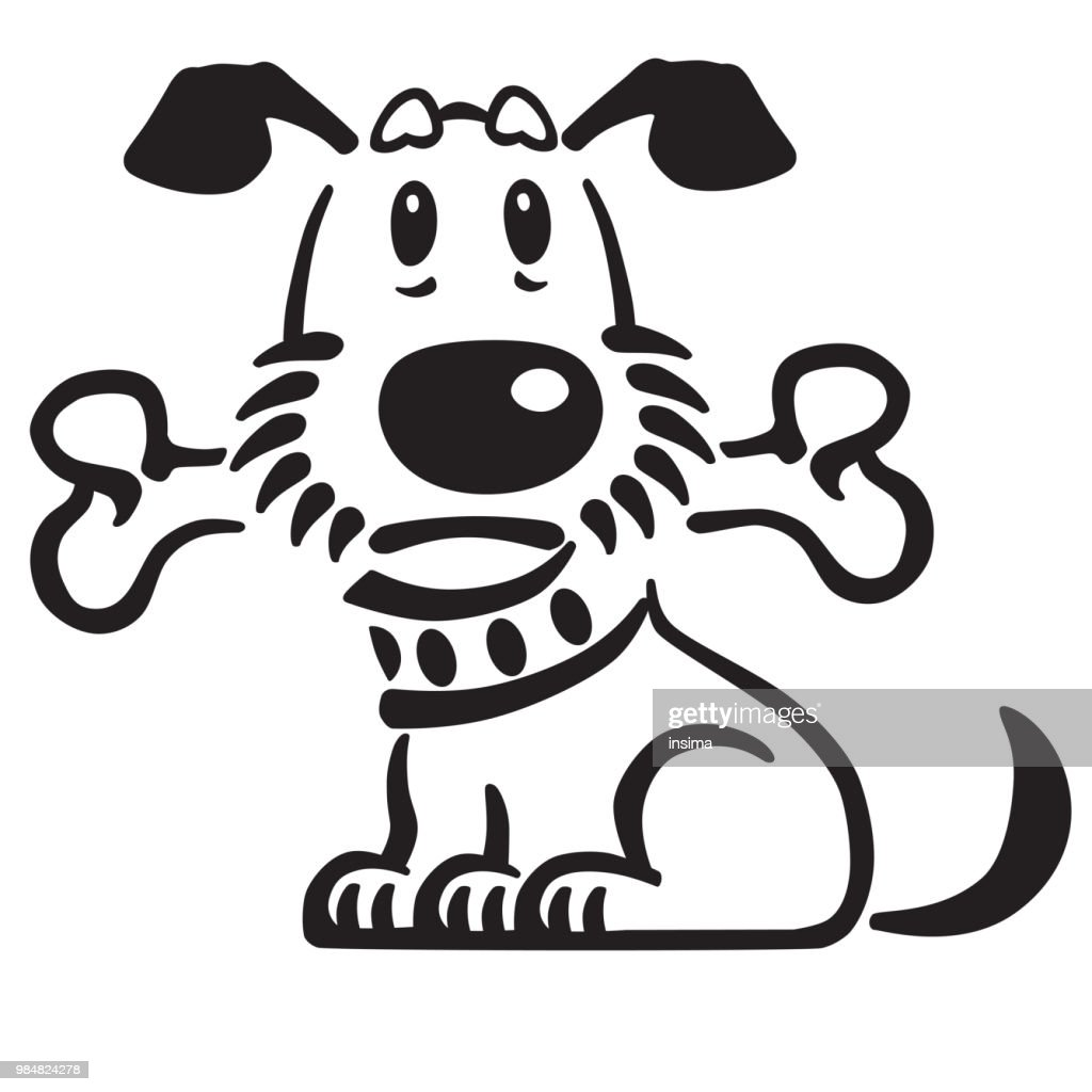 cartoon dog with a bone in his mouth