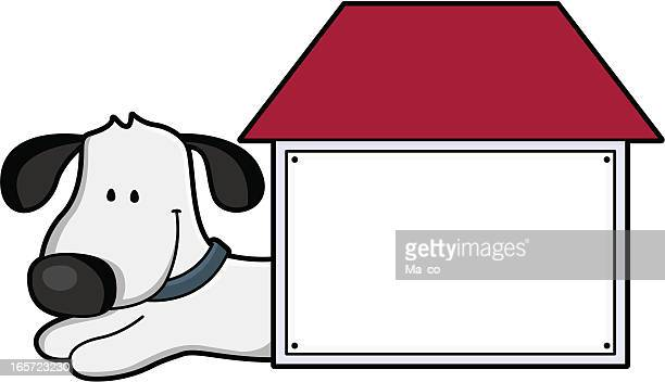 cartoon / doghouse with blank sign for your text