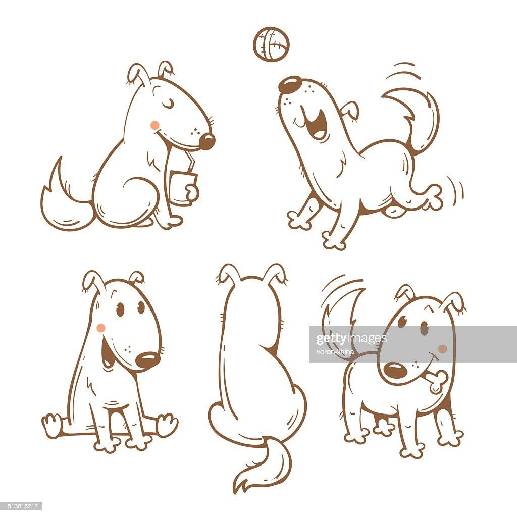 Cartoon dogs set.