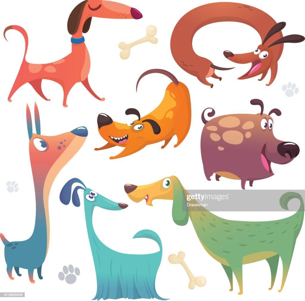 Cartoon dogs set. Vector illustrations of dogs icons.  Retriever, dachshund, terrier,pitbull, spaniel, bulldog, basset hound, afghan hound, borzoi