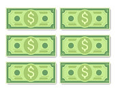 Cartoon dollar banknotes vector illustration, flat style dollar, isolated on white background.