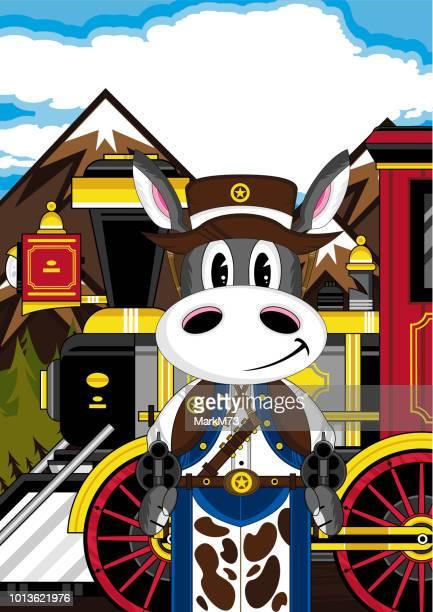 Cartoon Donkey Cowboy and Train